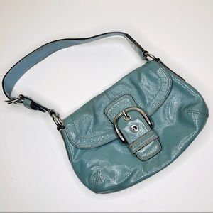 COACH Soho Blue Patent Leather Small Shoulder Bag